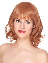 Lyxig halvlång röd peruk med lugg