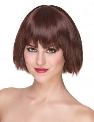 Lyxig kort kastanjebrun peruk med lugg