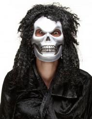 Långhårig Döskallemask Halloween Vuxen