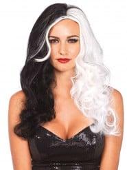 Lång svartvit grym peruk från sagan