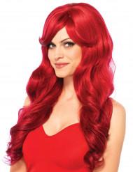 Lång röd peruk