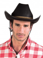 Svart cowboyhatt med brunt band - Maskeradhattar
