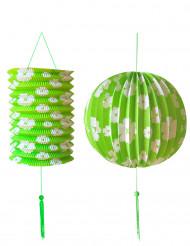 2 limegröna och vita lyktor i papper till festen