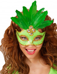 Grön mask med fjädrar vuxen