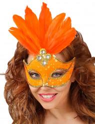 Orange mask med fjädrar vuxen