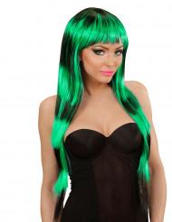Grön och svart peruk med pannlugg vuxen