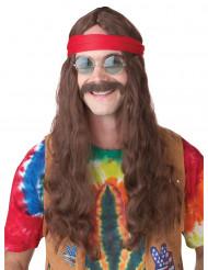 Hippieperuk med mustasch