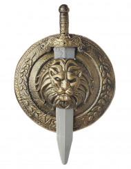 Gladiator guldsköld och svärd i plast
