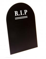 Halloweenmenyn på griffeltavla i form av gravsten
