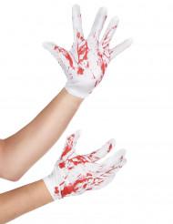 Vita nedblodade handskar vuxen Halloween