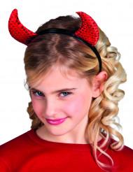 Röda paljetthorn barn Halloween