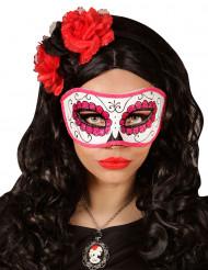 Rosaglittrig Día de los muertos mask vuxen