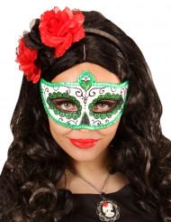 Grönglittrig Día de los muertos mask vuxen