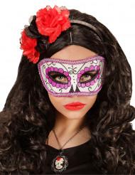 Lilaglittrig Día de los muertos mask vuxen