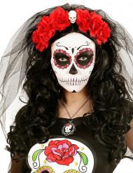 Diadem med röda blommor och döskalle vuxen Día de los muertos