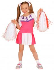 Rosa och vit cheerleader dräkt