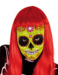Gul halloweenmask till barn i Día De Los Muertos-stil