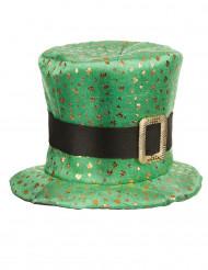 Grön Saint Patricks hatt med guldklöver vuxen