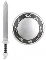 Gladiatorsköld och svärd i plast barn