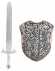 Silver riddarkit svärd och  Sköld  i plast barn