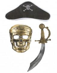 Piratkit i plast: svärd mask och hatt Barn