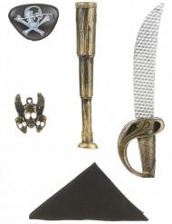 Piratkit i plast: Svärd, kikare, huvudscarf,  Smycke  och ögonlapp Barn