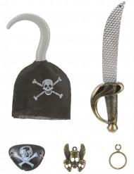 Piratkit i plast: svärd krok hängsmycke örhänge och ögonlapp Barn