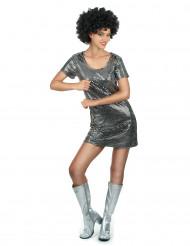 Disco Donna - Silverfärgad discodräkt för vuxna