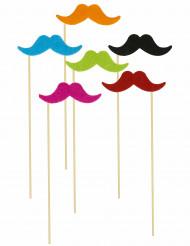 6 färgade mustascher till photobooth