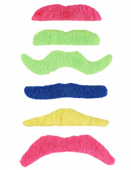 6 mustascher i fluofärger