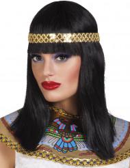 Peruk med svart hår och guldfärgat pannband