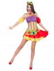 Färggrann clowndräkt för vuxna till maskeraden