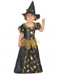 Guldfärgad häxdräkt för barn till Halloween