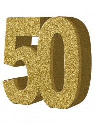 Bordsdekoration i guld till 50-årsfesten