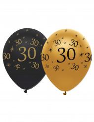 6 svart- och guldfärgade ballonger 30 år