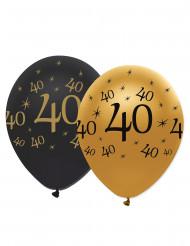 6 svarta och guldfärgade ballonger 40 år