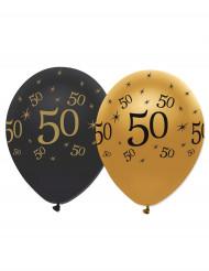 6 gummiballonger i svart och guld 50 år