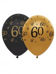 6 latexballonger med trycket 60