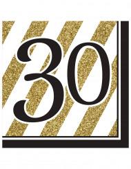 16 servetter till 30års festen i svart och guld