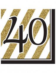 16 servetter 40 år i svart och guld 33 x 33 cm
