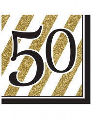16 servetter till 50-årsfesten i guld och svart - Partydekor