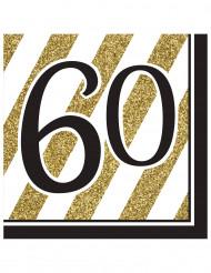 16 servetter till 60års festen i svart och guld