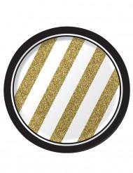 8 små svarta och guldfärgade pappersassietter 18 cm.
