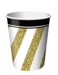8 svarta och guldfärgade pappmuggar 266 ml