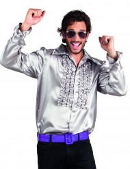 Discoskjorta i silver för vuxna