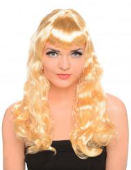 Långt vågigt blont hår Peruk
