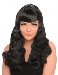 Långt brun peruk för vuxna med lockar och lugg