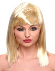 Halvlång blond peruk för vuxna med lugg