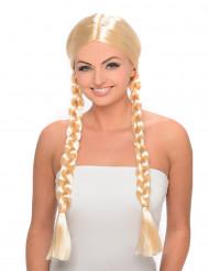 Blond peruk med långa flätor för vuxna