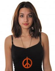 Orange hippie-halsband med fredssymbol